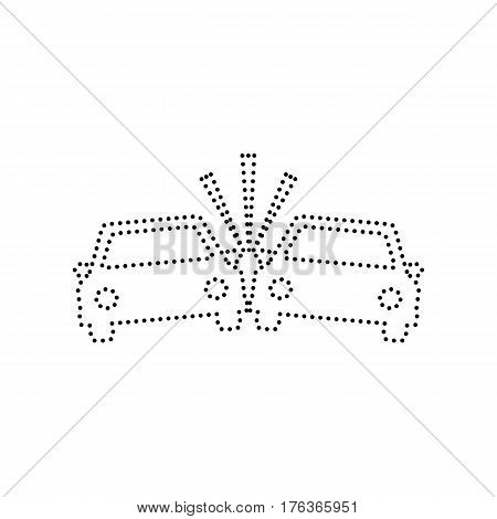 Crashed Cars sign. Vector. Black dotted icon on white background. Isolated.