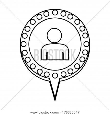 figure chat bubble with person inside, vector illustration design