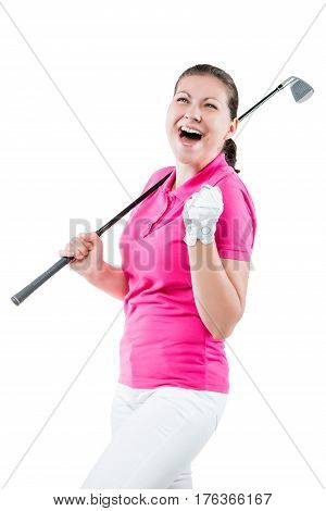 Happy Golfer Jubilant On A White Background With A Golf Club