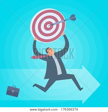 Businessman runs with dartboard goal in hands. Business targets achievement flat concept illustration. Man aim with dart arrow. Achievement progress development and management vector design element