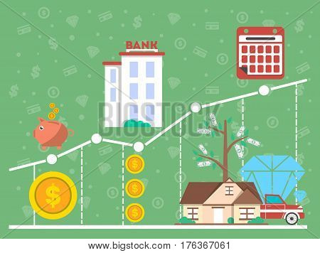 Financial investment diagram in flat design vector illustration. Financial growth, analytics, statistics and strategic management. Investing in commercial real estate, jewelry and cash, deposit money.
