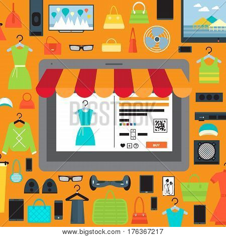 Online shopping in mall infographic vector illustration. Ecommerce concept with shop website in tablet computer screen. Buy in internet clothes, electronic technics and other at home, online retailer