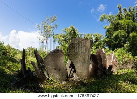 Megaliths near old place of Wogo village, Flores, Indonesia