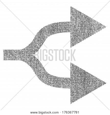 Split Arrows Right vector textured icon for overlay watermark stamps. Fabric gray vectorized texture. Symbol with dirty design. Rubber seal stamp with fiber textile structure.