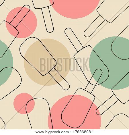 Seamless pattern of fruity ice cream on stick frozen ice juice vector