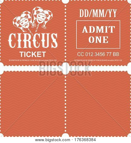 Retro tear-off coupon ticket for presentation at the circus theater concert second party confusing with a texture on the background
