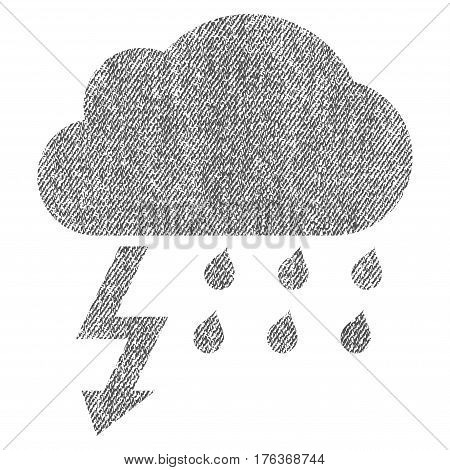 Thunderstorm vector textured icon for overlay watermark stamps. Fabric gray vectorized texture. Symbol with dust design. Rubber seal stamp with fiber textile structure.