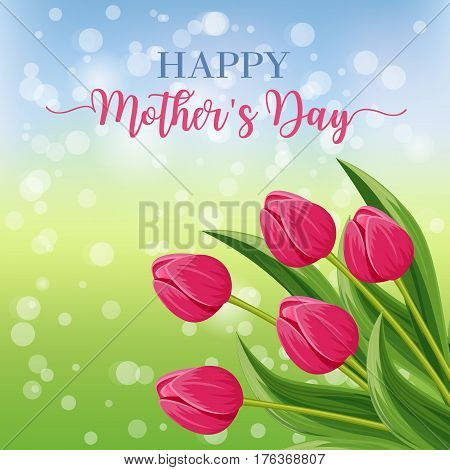Happy mothers day greeting card with blooming tulip flower festive vector illustration. Floral decorated spring design for woman holiday, love celebration, female feast congratulation template