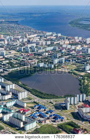 Aerial view of the city of Nizhnevartovsk, Tyumen region, Russia,  20th June of 2015. This is the center of the oil industry in Russia.