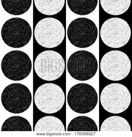 Black and white pattern with speckled circles. Vector seamless