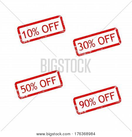 10 OFF, 30 OFF, 50 OFF, 90 OFF grunge stamp sign vector red. Color is easily changed.
