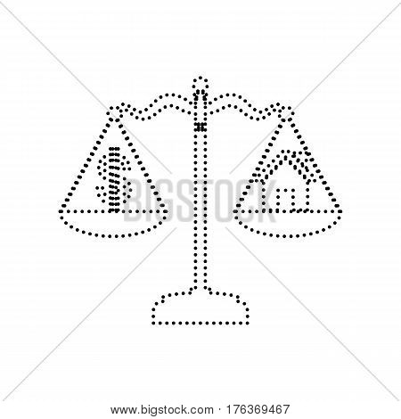 House and dollar symbol on scales. Vector. Black dotted icon on white background. Isolated.