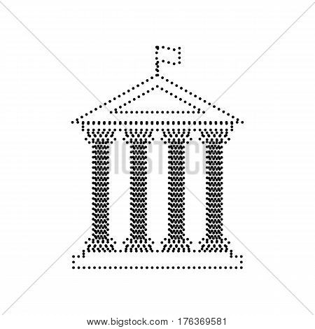 Historical building with flag. Vector. Black dotted icon on white background. Isolated.