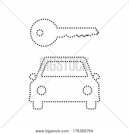 Car key simplistic sign. Vector. Black dotted icon on white background. Isolated.