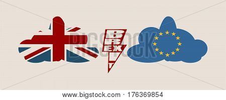 Image relative to politic situation between great britain and european union. Politic process named as brexit