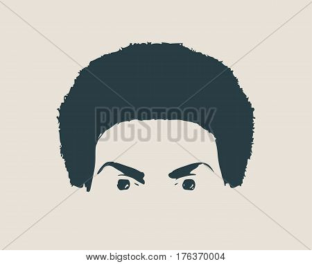 Face front view. Elegant silhouette of a part of female head. Vector Illustration. Monochrome gamma. Hair and eyes