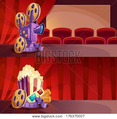 Set of vector cartoon banners with a cinema hall, screen and red curtains. Two templates for advertising posters to the films premiere