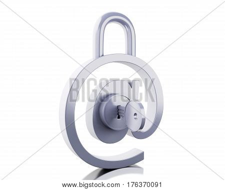 3D At Sign As Padlock With Key