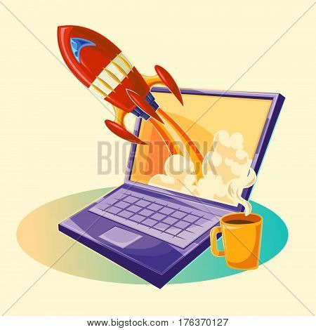 Vector cartoon illustration of the startup concept of business project, the launch of a new investment project. Illustration of a rocket flying out of a laptop monitor