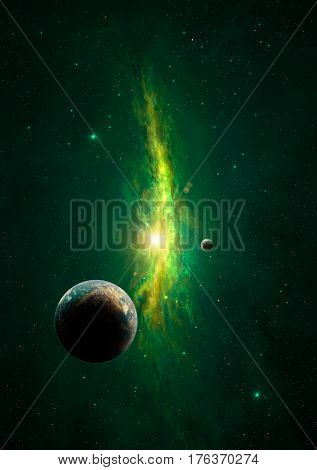 Space scene. Green nebula with one big and small planets. Elements furnished to NASA.