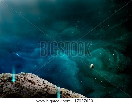 Space scene. Green and blue nebula with one small planet and asteroid in front. Elements furnished to NASA.
