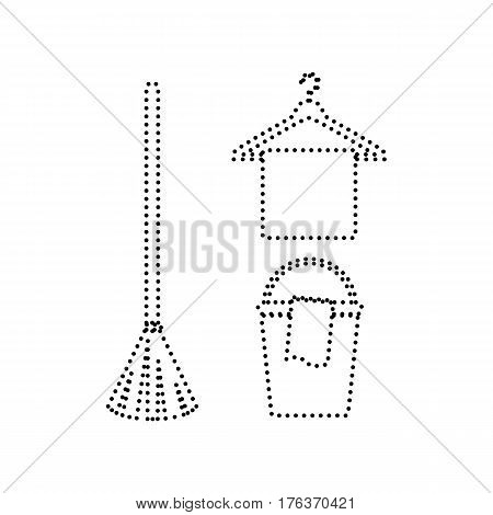 Broom, bucket and hanger sign. Vector. Black dotted icon on white background. Isolated.