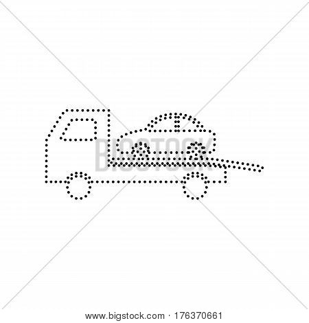 Tow car evacuation sign. Vector. Black dotted icon on white background. Isolated.