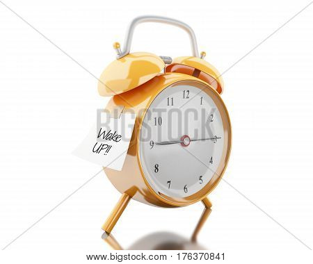 3d illustration. Alarm clock with sticky paper written