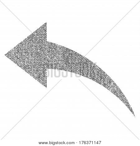 Undo vector textured icon for overlay watermark stamps. Fabric gray vectorized texture. Symbol with dirty design. Rubber seal stamp with fiber textile structure.