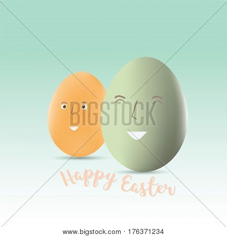 happy easter eggs with smile on white background for Easter holidays design vector illustration Eps 10.