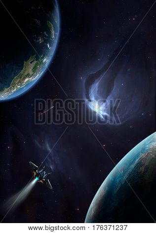Space scene. Violet nebula with two planet and spaceship. Elements furnished to NASA