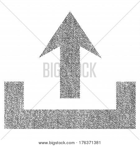 Upload vector textured icon for overlay watermark stamps. Fabric gray vectorized texture. Symbol with scratched design. Rubber seal stamp with fiber textile structure.
