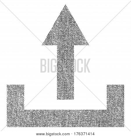 Upload vector textured icon for overlay watermark stamps. Fabric gray vectorized texture. Symbol with dirty design. Rubber seal stamp with fiber textile structure.