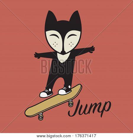 Fox riding a skateboard. Happy skateboarding. Young skater riding a skateboard. Sports jumping with skateboard. Vector illustration