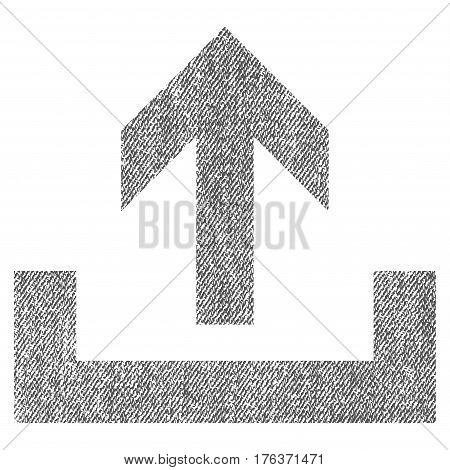 Upload vector textured icon for overlay watermark stamps. Fabric gray vectorized texture. Symbol with dust design. Rubber seal stamp with fiber textile structure.