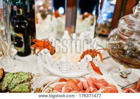 Fresh Red Crayfish At Catering Wedding Reception Table.