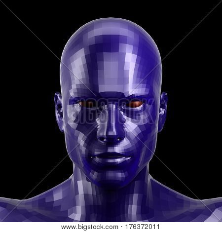 3D rendering. Faceted blue robot face with red eyes looking front on camera. Isolated on black background