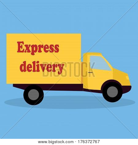 Red delivery van - fast shipping concept isolated