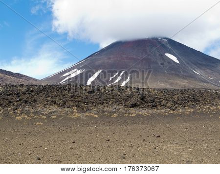 Active Volcanoe Cone Mount Ngauruhoe New Zealand