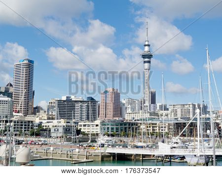AUCKLAND NZ APR 16 2012: Skyline of Auckland Central Business District with Sky Tower seen from Viaduct Harbor on Apr 16 2012 in Auckland New Zealand