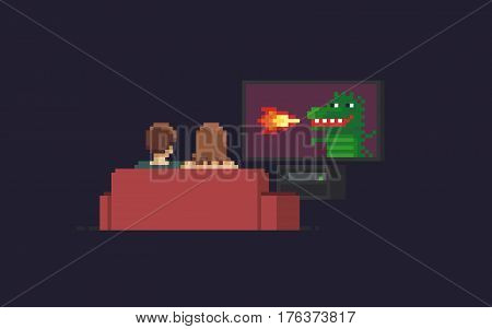 Pixel art couple watching tv with dragon that belching fire