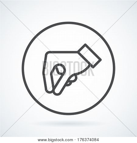 Black flat simple icon style line art. Outline symbol with stylized image of a gesture hand of a human give in circumference. Stroke vector logo mono linear pictogram graphics. On a gray background.