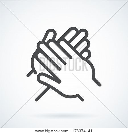 Black flat simple icon style line art. Outline symbol with stylized image of a gesture hand of a human applause, bravo. Stroke vector logo mono linear pictogram web graphics. On a gray background.