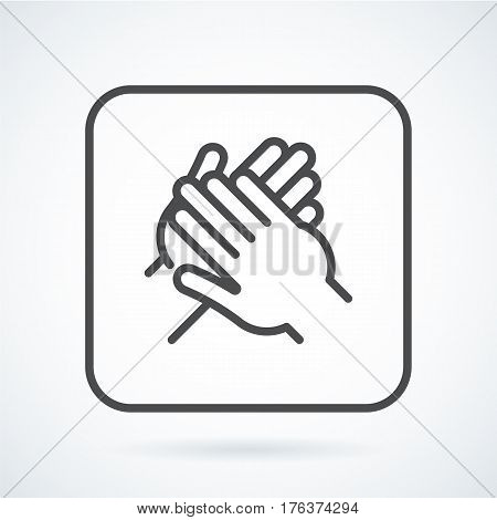 Black flat simple icon style line art. Outline symbol with stylized image of a gesture hand of a human applause, bravo in a square with rounded corners. Stroke vector logo mono linear pictogram.