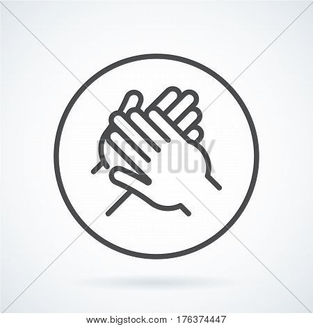 Black flat simple icon style line art. Outline symbol with stylized image of a gesture hand of a human applause, bravo in circumference. Stroke vector logo mono linear pictogram web graphics.