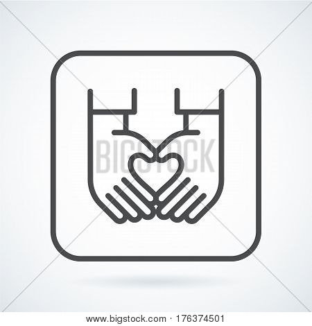 Black flat simple icon style line art. Outline symbol with stylized image of a gesture hand of a human heart in a square with rounded corners. Stroke vector logo mono linear pictogram web graphics.