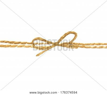 Watercolor painting of string or twine tied in a bow isolated on white background