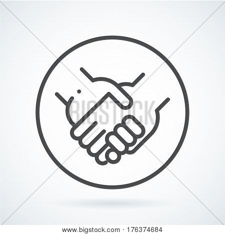 Black flat simple icon style line art. Outline symbol with stylized image of a gesture hand of a human holding arm in circumference. Stroke vector logo mono linear pictogram web graphics.