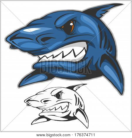 Cartoon shark mascot. Vector clip art illustration isolated on white. All in a single layer.