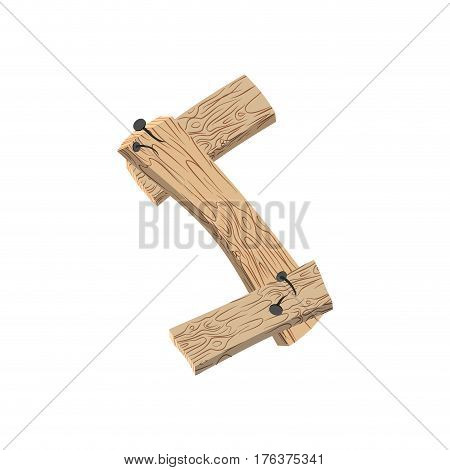 Letter S Wood Board Font. Plank And Nails Alphabet. Lettering Of Boards. Country Chipboard Abc